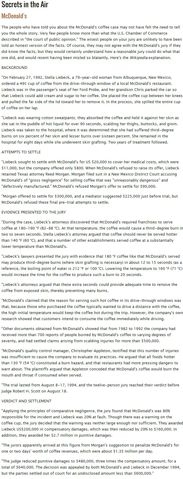 McDonalds Hot Coffee Lawsuit Story