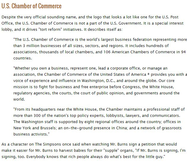 Chamber of Commerce Not a Part of Government Story